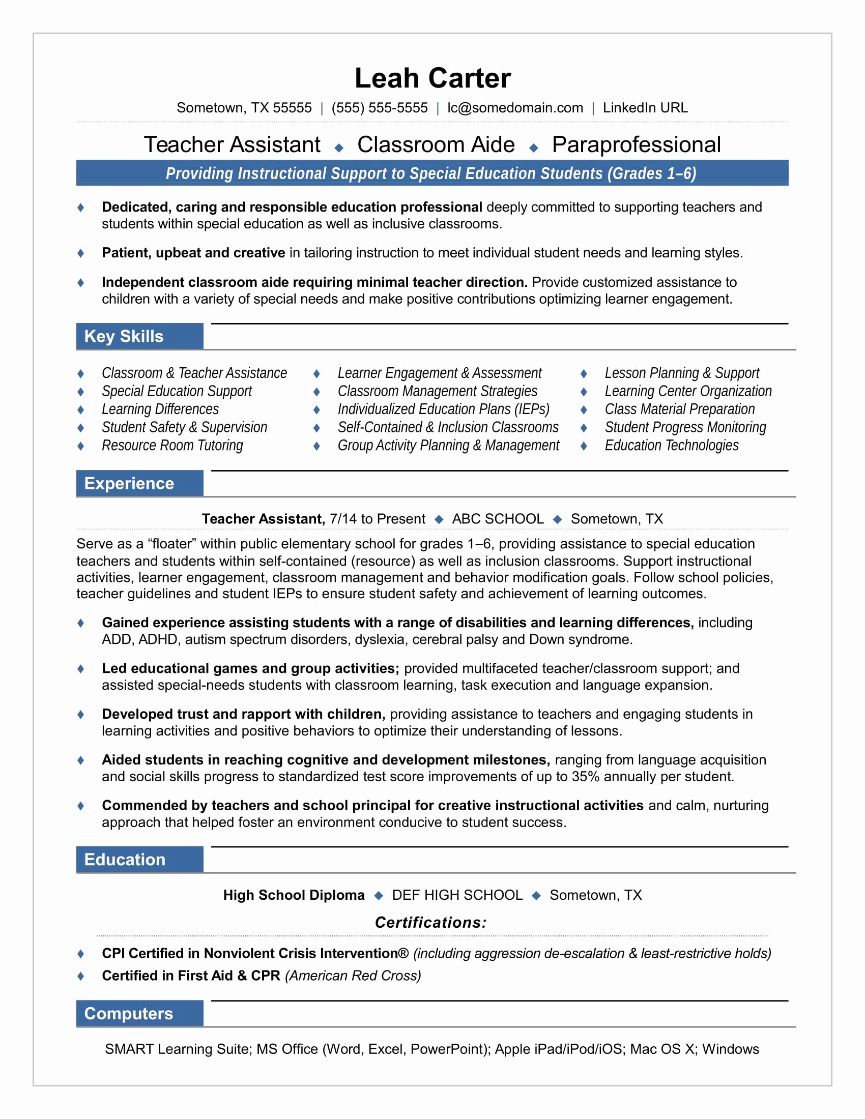 Teaching assistant Sample Resume Lovely Teacher assistant Resume Sample