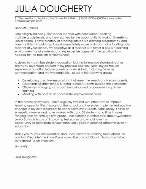 Teaching Job Cover Letter Awesome Teacher Education Cover Letter Template