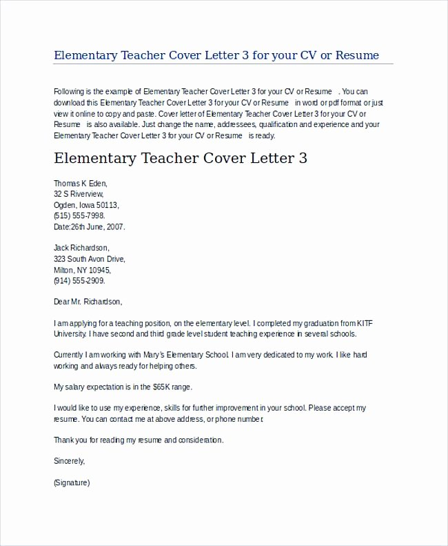 Teaching Job Cover Letter Beautiful Teaching Cover Letter Examples for Successful Job Application