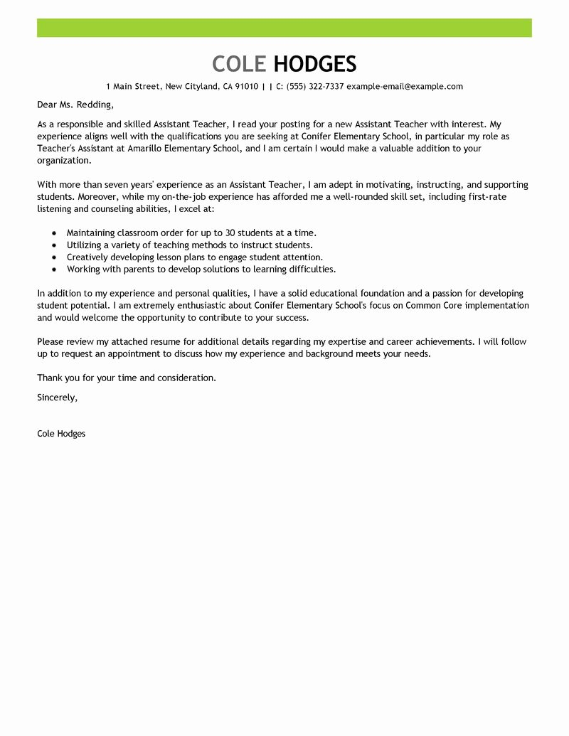 Teaching Job Cover Letter Best Of Best assistant Teacher Cover Letter Examples