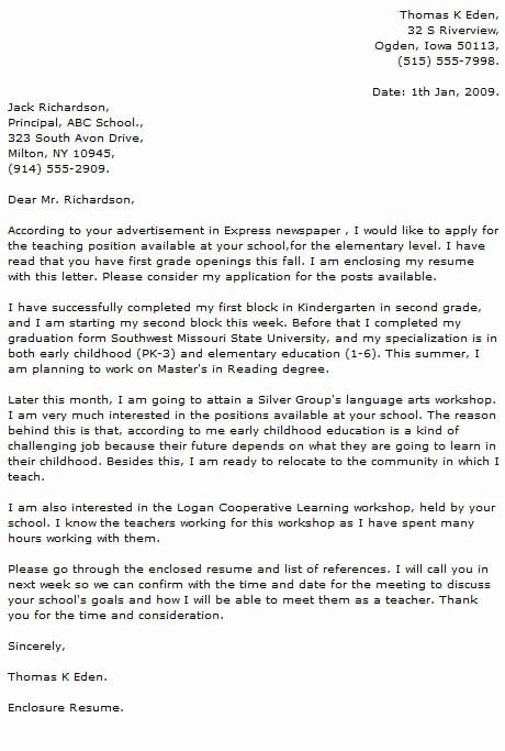 Teaching Job Cover Letter Best Of Teacher Cover Letter Examples