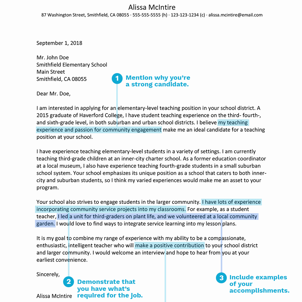 Teaching Job Cover Letter Inspirational Teacher Cover Letter Example and Writing Tips