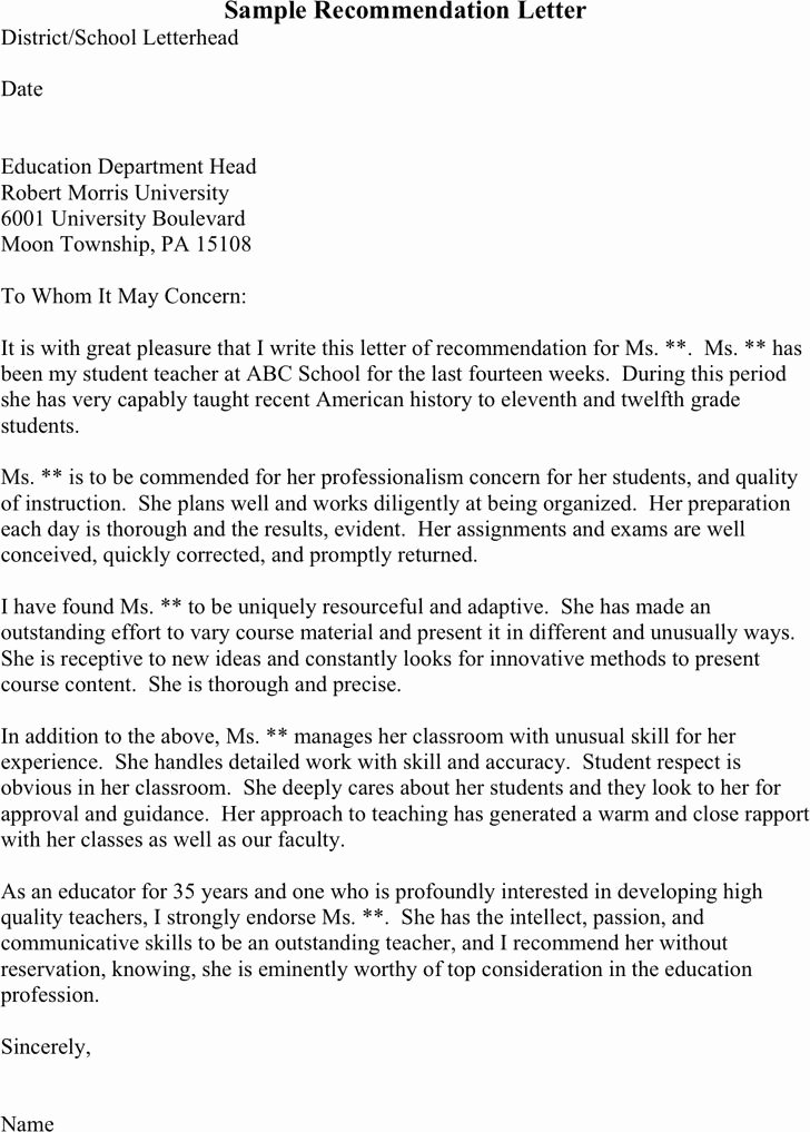 Teaching Letter Of Recommendation Awesome Free Three Sample Re Mendation Letters Pdf 1 Page S