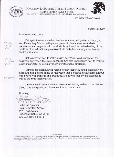 Teaching Letter Of Recommendation Best Of Kathryn Little Letters Of Re Mendation Student Teaching