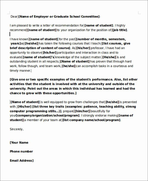 Teaching Letter Of Recommendation Luxury 6 Sample Teaching Position Re Mendation Letter Free