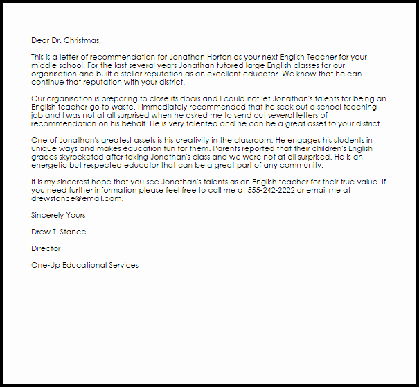 Teaching Letter Of Recommendation Luxury English Teacher Re Mendation Letter Example