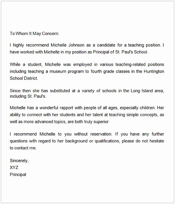 Teaching Letter Of Recommendation Luxury Letter Of Re Mendation for A Teacher Colleague