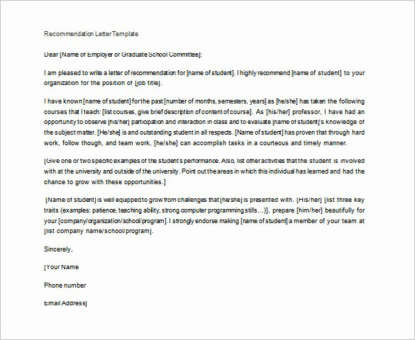 Teaching Letters Of Recommendation New Letter Of Re Mendation for Teacher – 12 Free Word