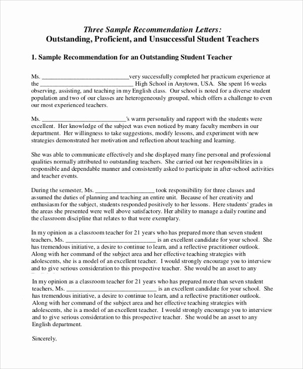 Teaching Letters Of Recommendation Unique Sample Letter Of Re Mendation for Teacher 18