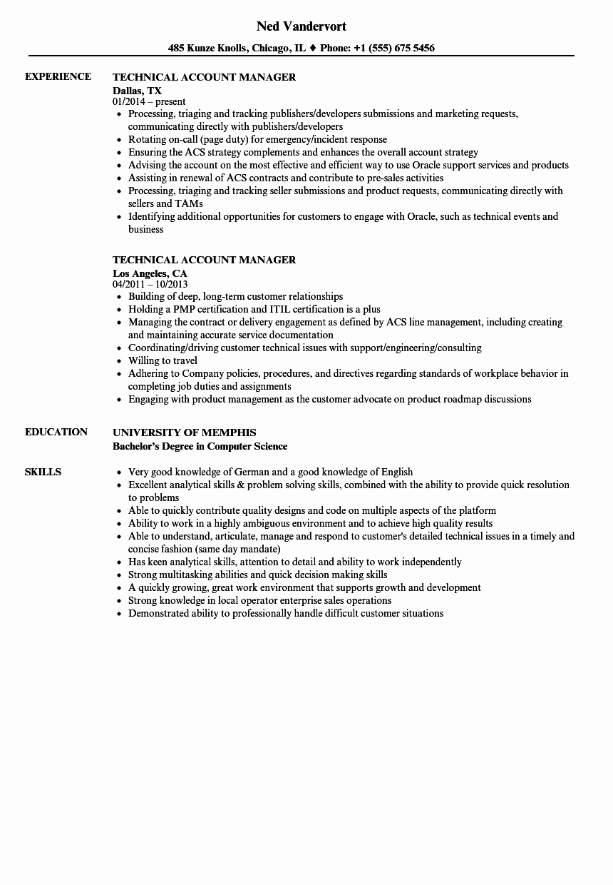 Technical Account Manager Resume Elegant Technical Account Manager Resume Samples