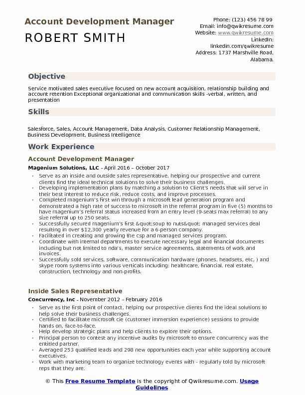 Technical Account Manager Resume Fresh Account Development Manager Resume Samples
