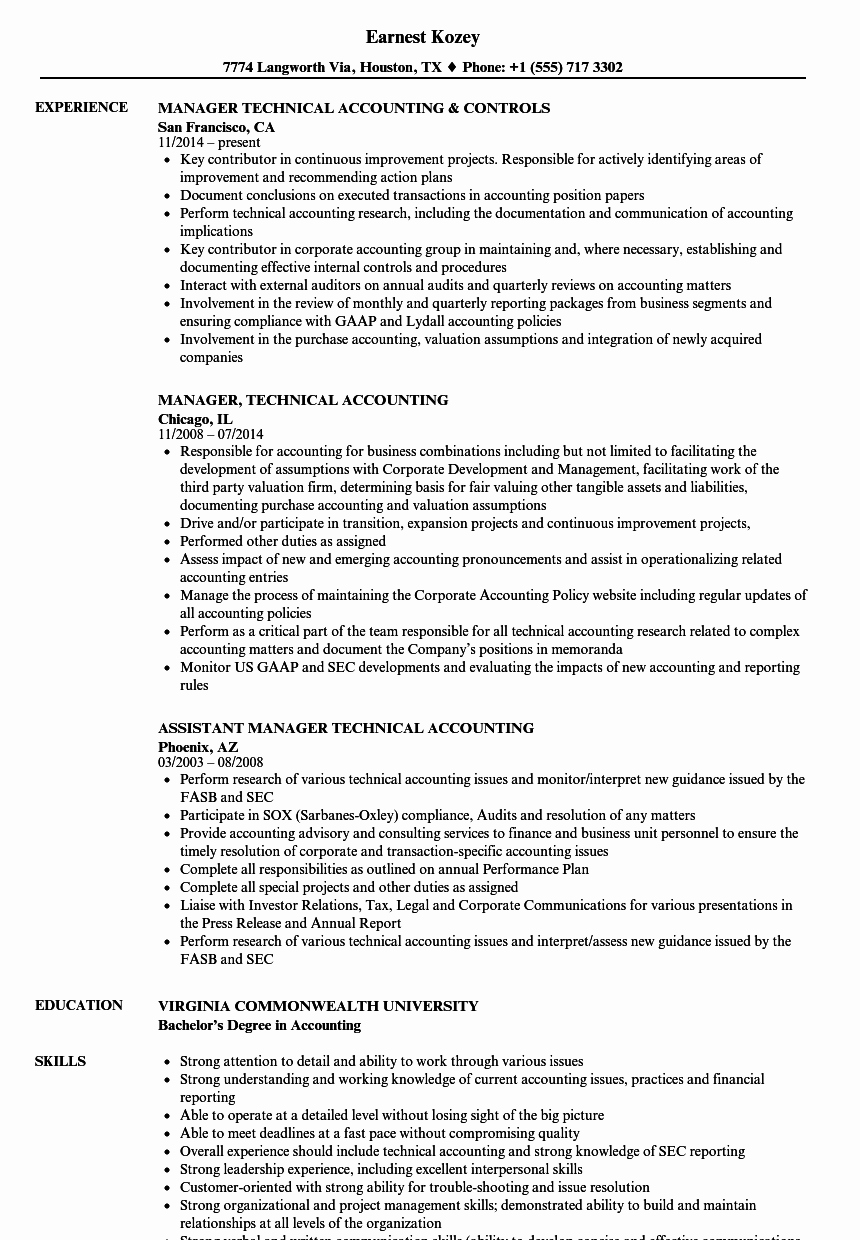 Technical Account Manager Resume New Manager Technical Accounting Resume Samples