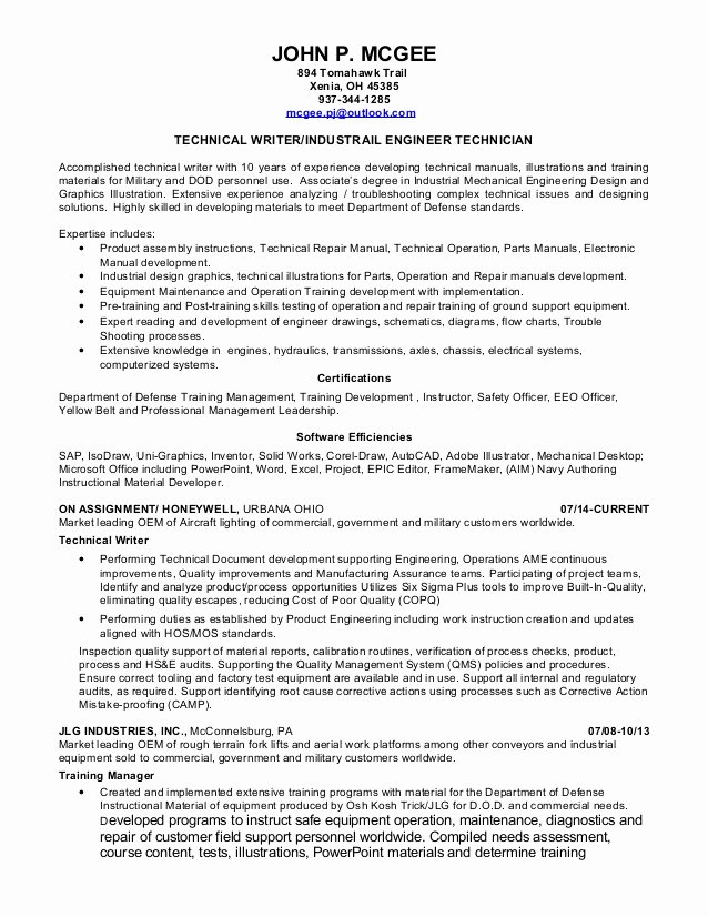 Technical Writer Resume Examples Fresh John Mcgee Resume Technical Writer
