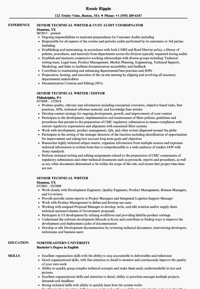 Technical Writer Resume Examples Fresh What You Should Wear to