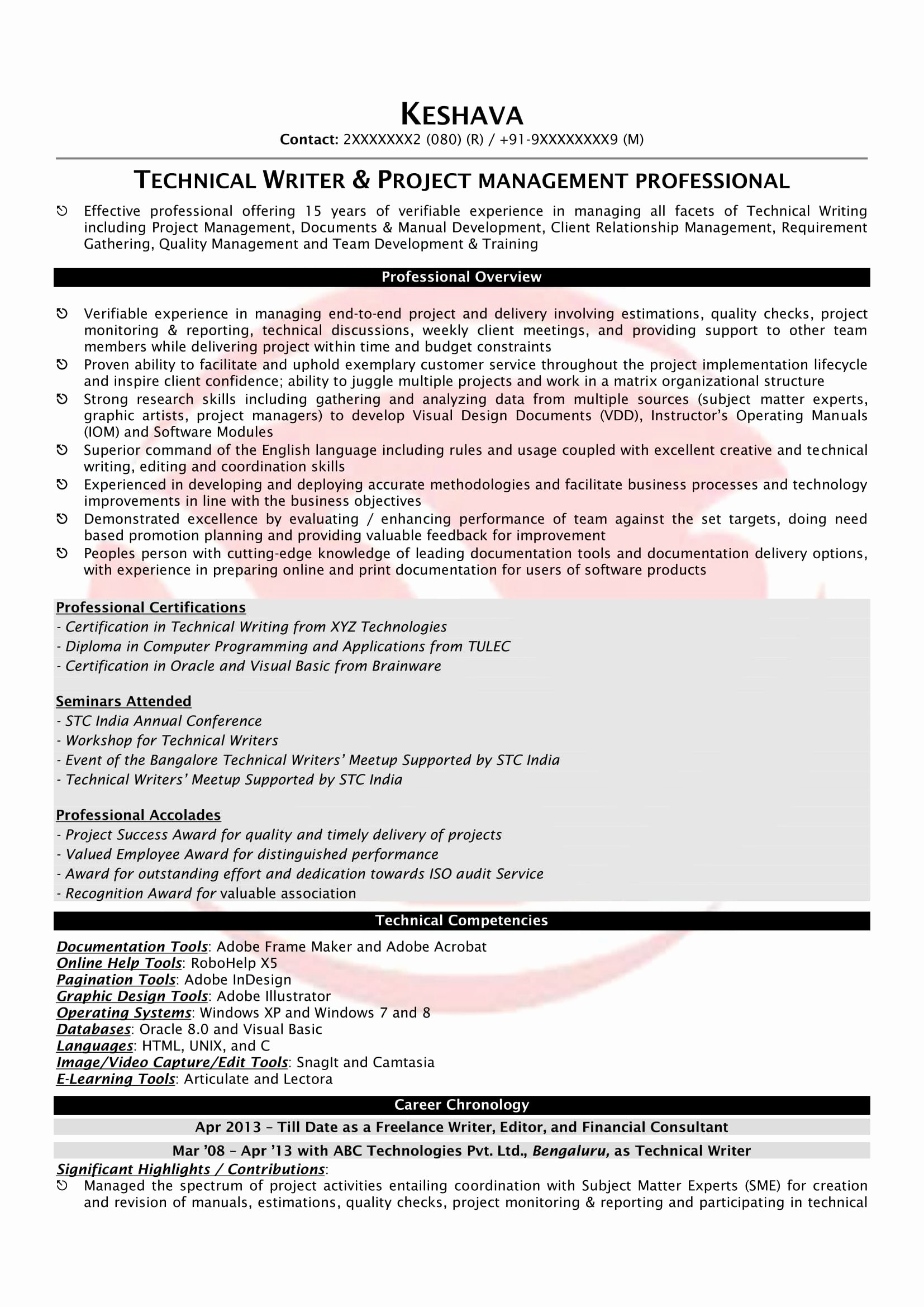 Technical Writer Resume Examples Luxury Technical Writer Sample Resumes Download Resume format
