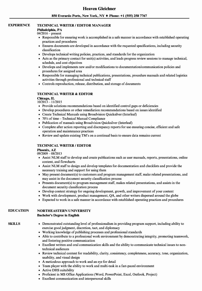 Technical Writer Resume Examples New Technical Writer Editor Resume Samples