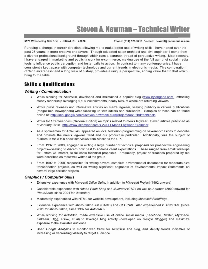 Technical Writer Resume Examples Unique Technical Writer Resume Steve Newman