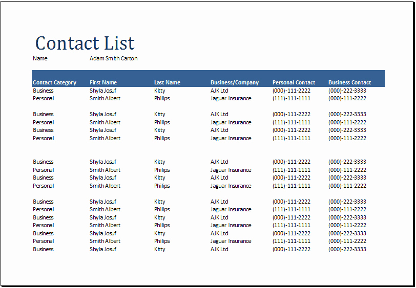 Telephone Directory Template Excel Beautiful 24 Free Contact List Templates In Word Excel Pdf