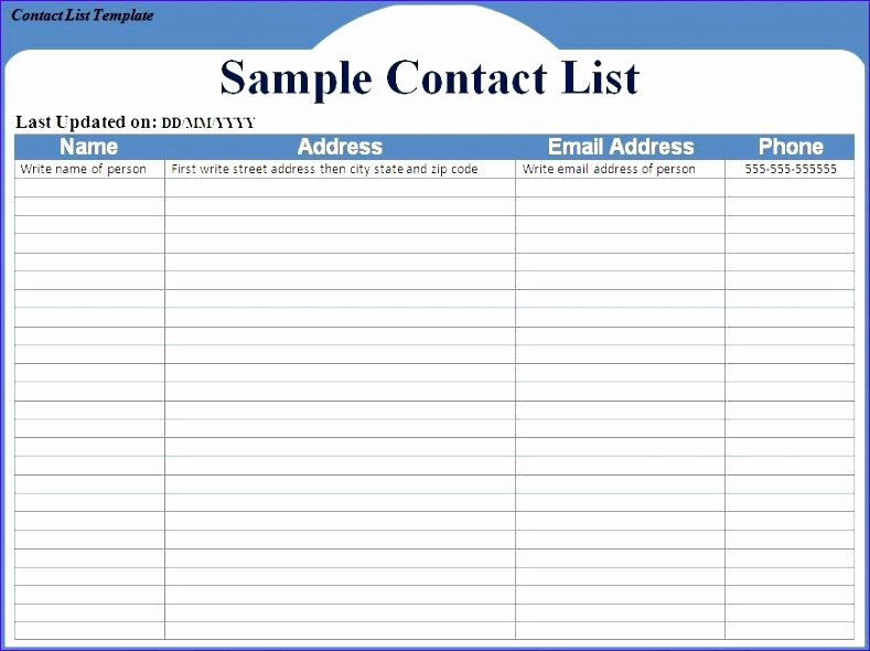 Telephone Directory Template Excel Fresh 12 Excel Address List Template Exceltemplates