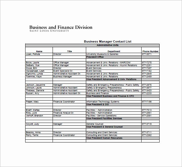 Telephone Directory Template Excel Unique 10 Contact List Examples Pdf