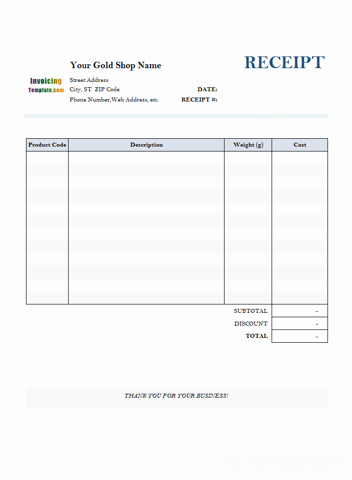 Template for A Receipt Best Of Receipt Template for Gold Shop 1