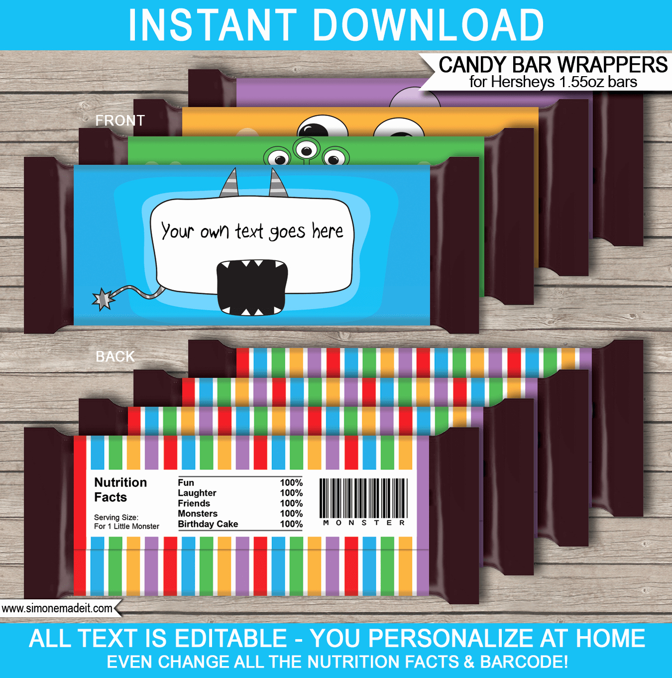 Template for Candy Bar Wrapper Best Of Monster Hershey Candy Bar Wrappers