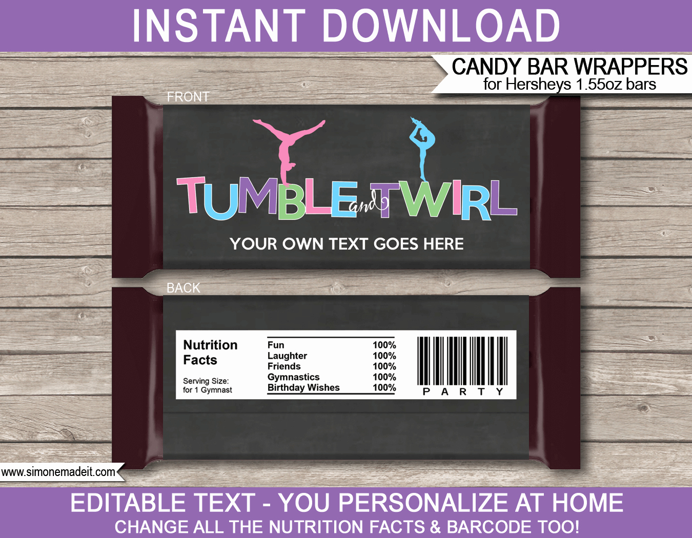 Template for Candy Bar Wrapper Elegant Gymnastics Hershey Candy Bar Wrappers