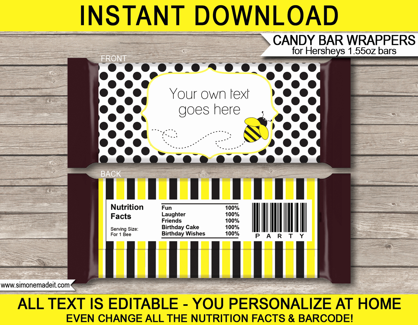 Template for Hershey Bar Wrapper Awesome Bee Hershey Candy Bar Wrappers