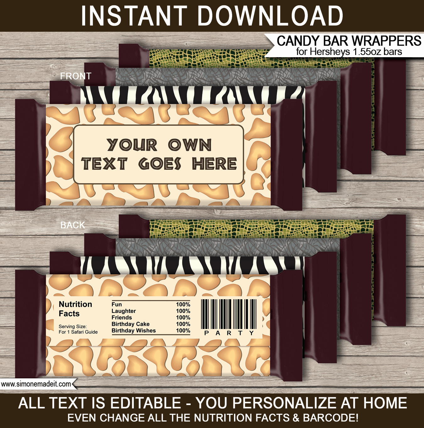 Template for Hershey Bar Wrapper Beautiful Safari Hershey Candy Bar Wrappers