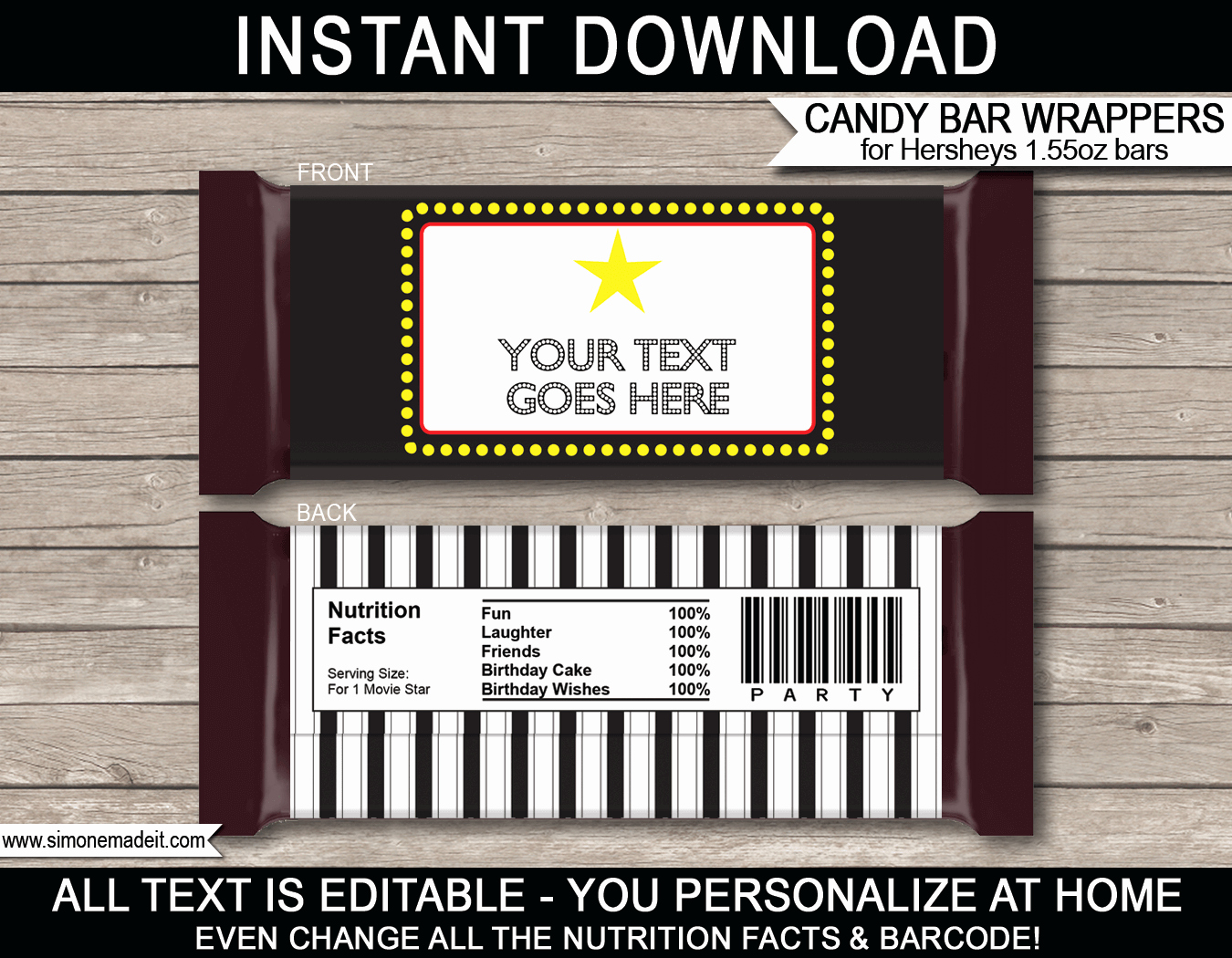 Template for Hershey Bar Wrapper Elegant Movie Hershey Candy Bar Wrappers