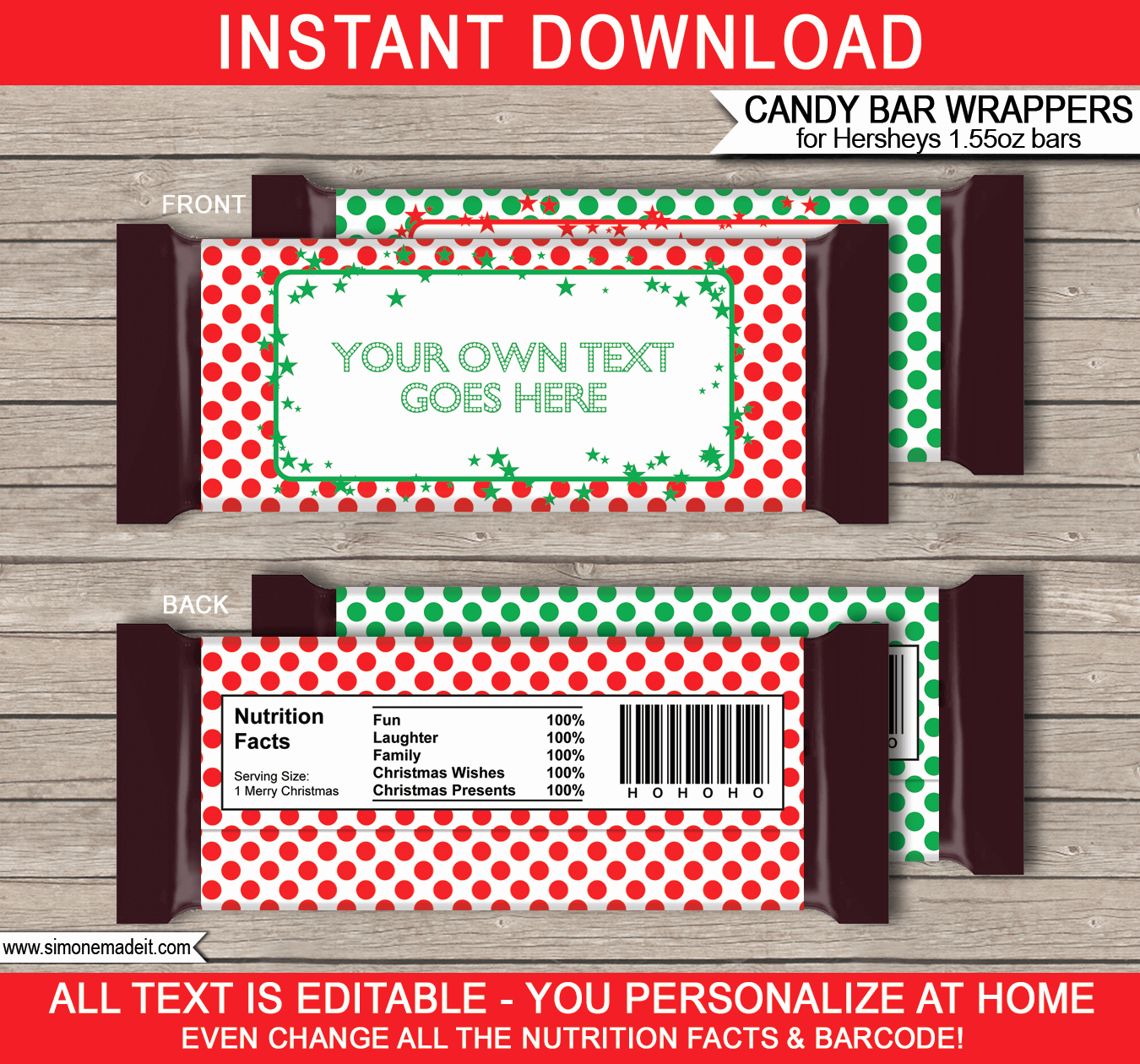 Template for Hershey Bar Wrapper Lovely Christmas Hershey Candy Bar Wrappers