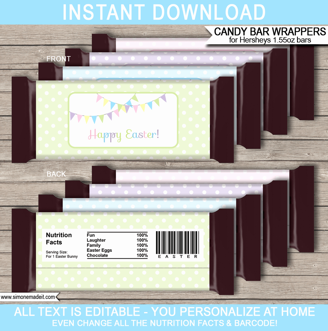 Template for Hershey Bar Wrapper Luxury Easter Hershey Candy Bar Wrappers
