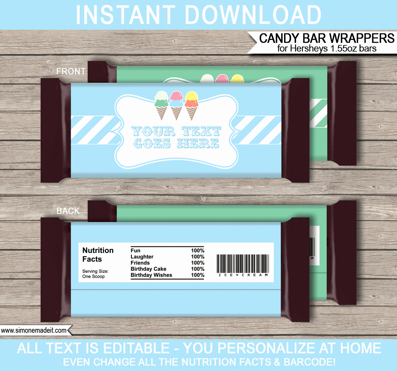 Template for Hershey Bar Wrapper New Ice Cream Party Hershey Candy Bar Wrappers