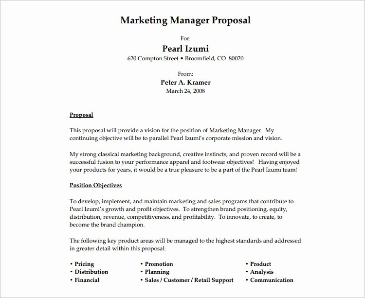 Template for Job Proposal Best Of Job Proposal Template