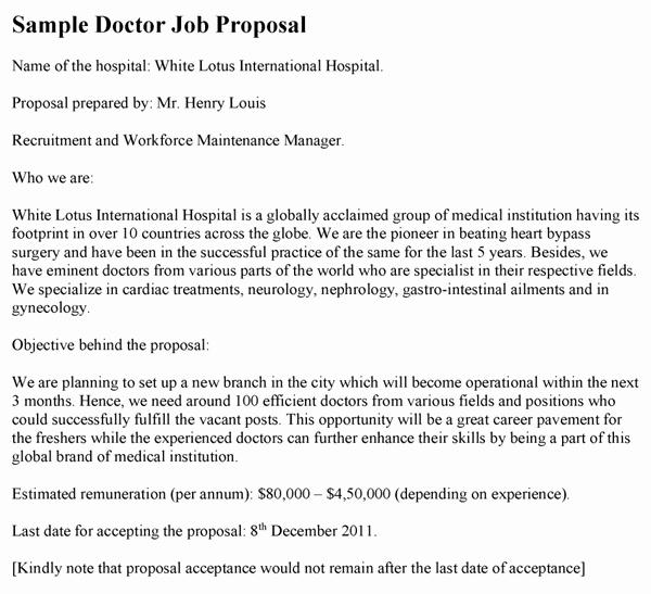 Template for Job Proposal Fresh Doctor Job Proposal Template