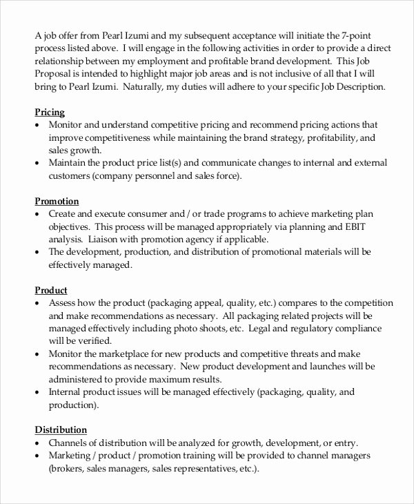Template for Job Proposal Fresh Sample Job Proposal 5 Examples In Word Pdf