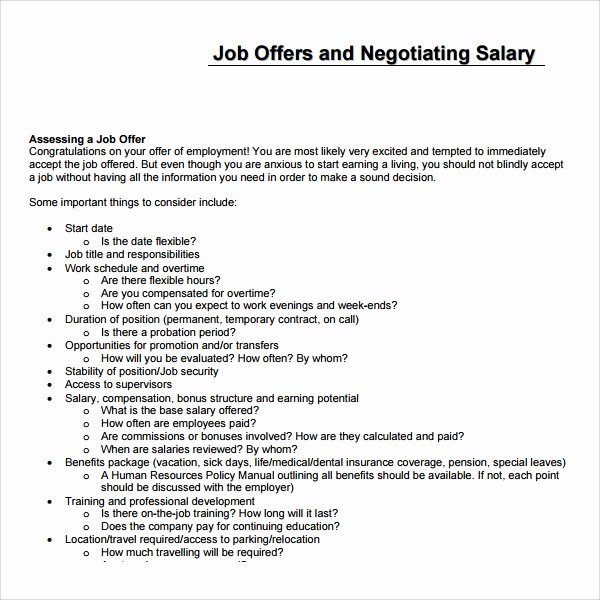 Template for Job Proposal Lovely Sample Salary Proposal Template 9 Free Documents In Pdf
