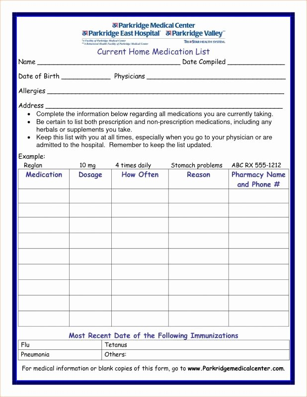 Template for Medication List Awesome Medication List Template