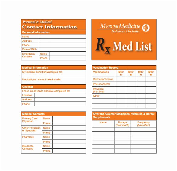 Template for Medication List Elegant 8 Medication Card Templates Doc Pdf