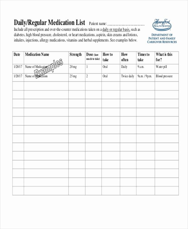 Template for Medication List Fresh 6 Printable Medication List Templates Free Samples