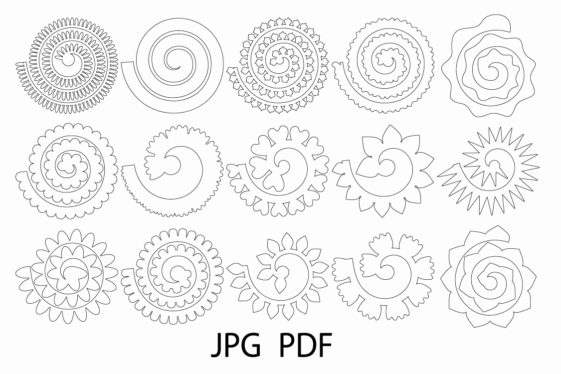 Template for Paper Flowers Unique Rolled Paper Flower Templates Svg 3d Rose Svg origami Rose