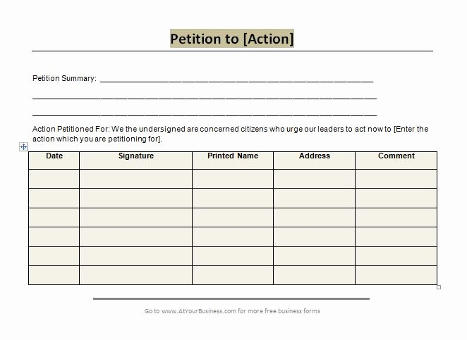 Template for Petition Signatures Beautiful 30 Petition Templates How to Write Petition Guide