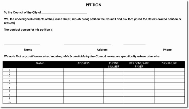 Template for Petition Signatures Elegant Petition Templates Create Your Own Petition with 20