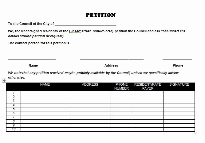 Template for Petition Signatures Inspirational 30 Free Petition Templates How to Write Petition Guide
