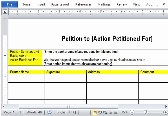 Template for Petition Signatures Inspirational Best Free Petition Templates for Word