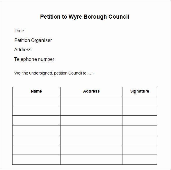 Template for Petition Signatures Inspirational Petition Template