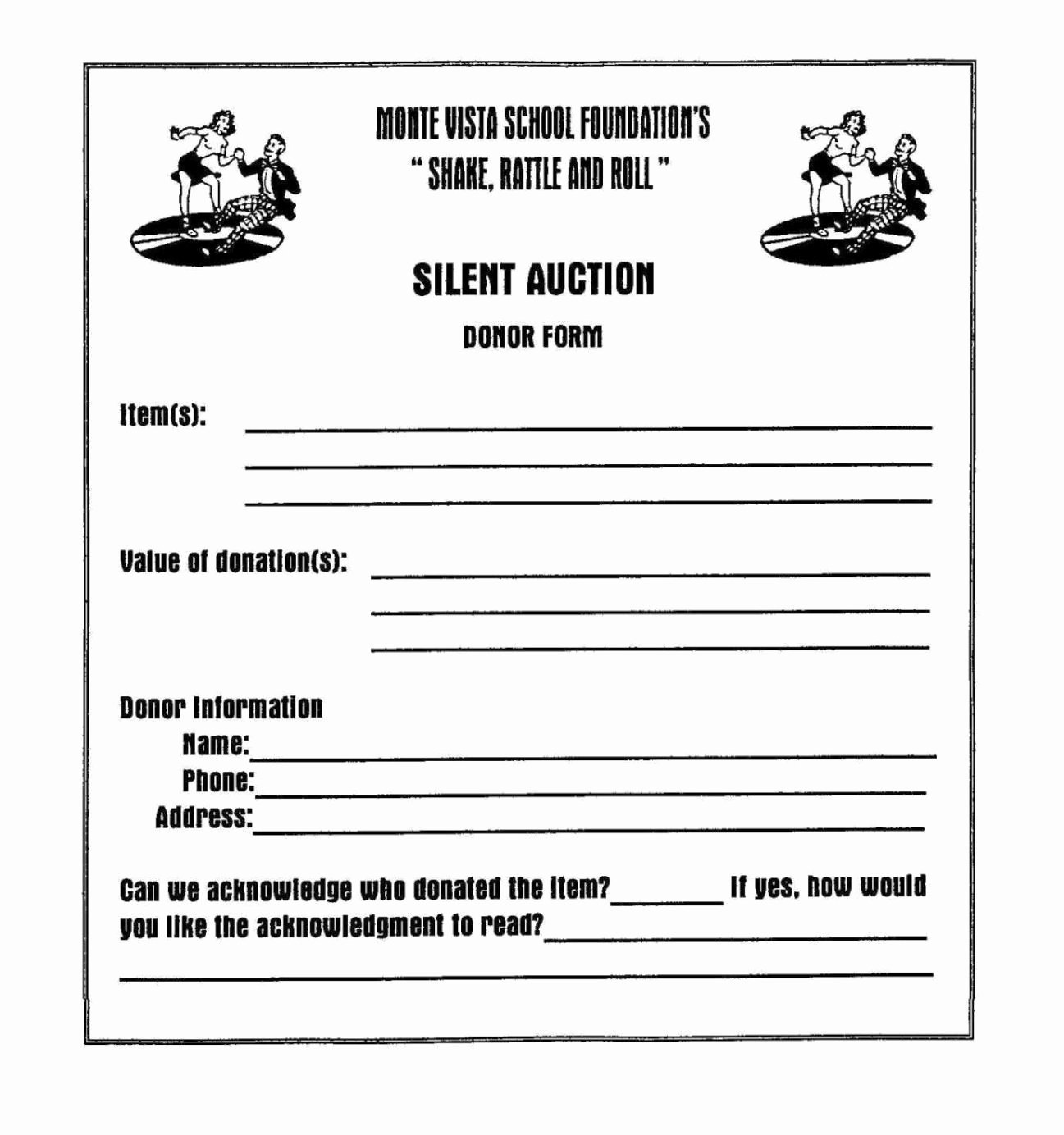 Template for Silent Auction Awesome Silent Auction Donation form Template Sampletemplatess