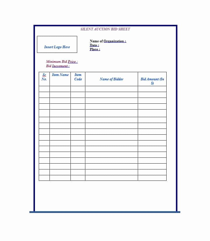 Template for Silent Auction Elegant 40 Silent Auction Bid Sheet Templates [word Excel]