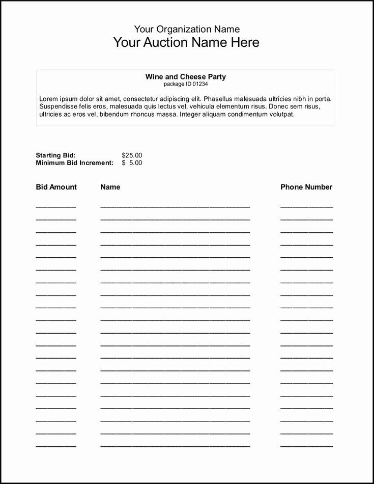 Template for Silent Auction Luxury Silent Auction Bid Sheet Template Google Search