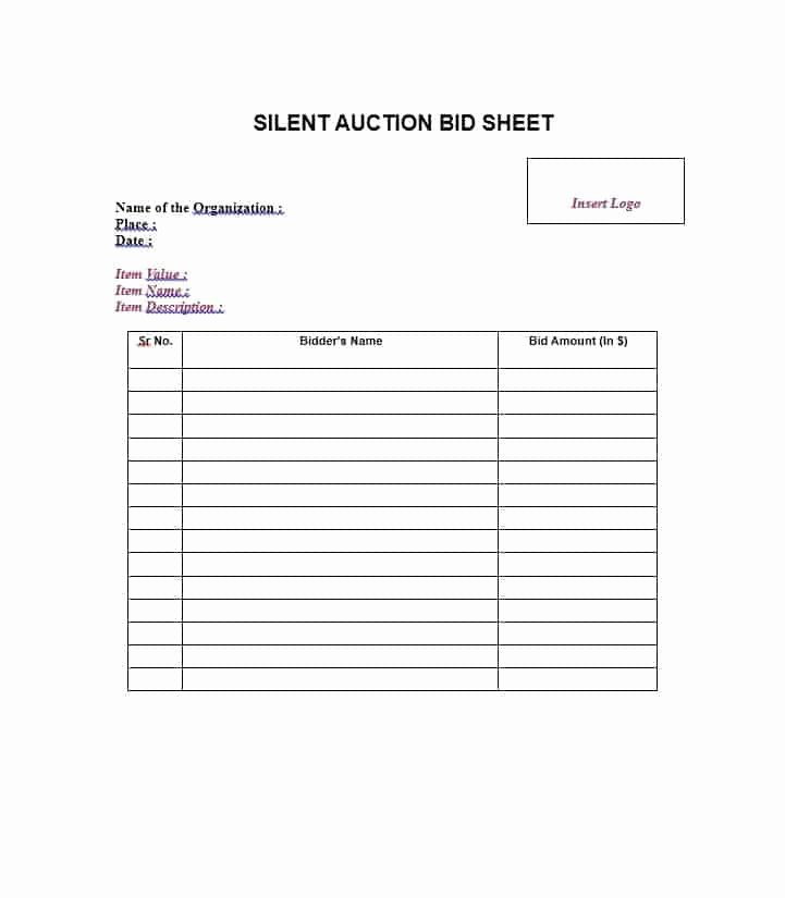 Template for Silent Auction New 16 Silent Auction Bid Sheet Templates Free Sample Templates